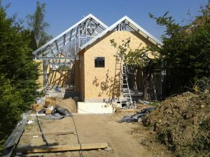 Construction maison ossature metallique, chantier